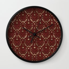 Persian Oriental Pattern - Red Leather and gold Wall Clock