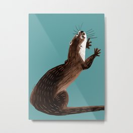 Asian small-clawed otter Cadet blue Metal Print