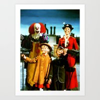 pennywise Art Prints featuring PENNYWISE IN MARY POPPINS by Luigi Tarini