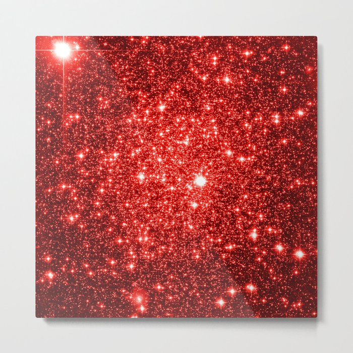 GalaXy : Red Glitter Sparkle Metal Print