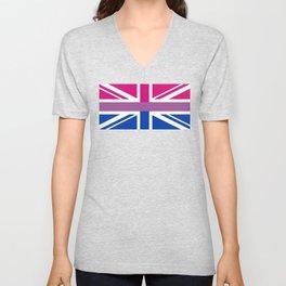 Gay Pride LGBT Bisexual Bi GB UK Union Jack Flag design Unisex V-Neck