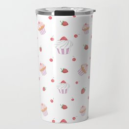 Cute lavender pink strawberries sweet cupcake pattern Travel Mug