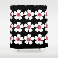 Japanese Sakura Floral Pattern - Black Shower Curtain
