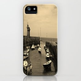 Boats in the Harbour Sepia Photo iPhone Case