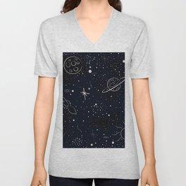 Pattern with stars and bright shiny stars on dark background Unisex V-Neck