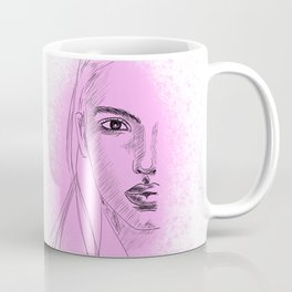 pencil sketch of a face of a beautiful young woman against pink dust particles Coffee Mug