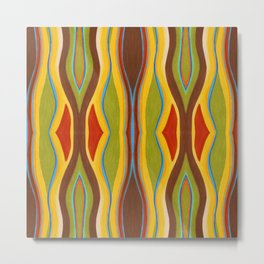Green Brown Red with Orange and Blue Highlighting Retro Style by annmariescreations Metal Print