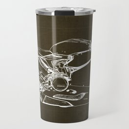 Motorcycle blueprint, Superbike 1299 Panigale, 2015,brown background, gift for men, classic bike Travel Mug