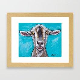 Goat Art, Colorful Farm Animal Framed Art Print