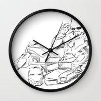tony stark Wall Clocks featuring Iron Man (Tony Stark) by  Steve Wade ( Swade)