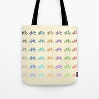 bicycles Tote Bags featuring Bicycles by George Hatzis