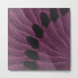 Watercolor Purple and Black Tipped Feathers Metal Print