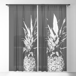 Pineapple Black and White #decor #society6 Sheer Curtain