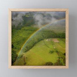 Hawaiian Rainbow Over Valley in Kauai: Aerial View Framed Mini Art Print