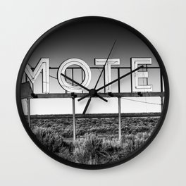 Motel Nowhere in Black and White Wall Clock