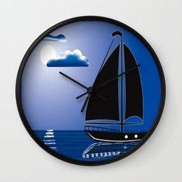 Moonlight Sail Wall Clock
