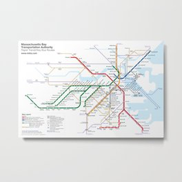 Boston Rapid Transit Map - With Bus Routes Metal Print