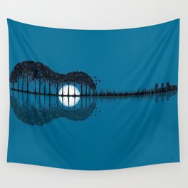 Trees sea and the moon turned guitar Wall Tapestry