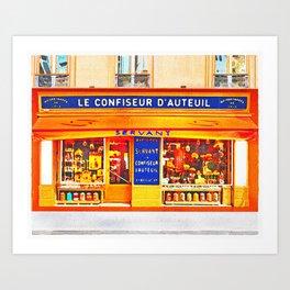 Watercolor Shops -  Boutiques -  Paris -  Boutique -  Parisian - Vintage illustration. Retro décor. Art Print