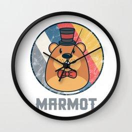Vintage Cute Wildlife Marmot Colorful Retro Animals Wall Clock
