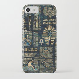 Egyptian hieroglyphs and deities -Abalone and gold iPhone Case