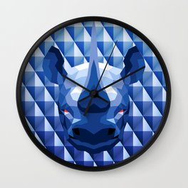 Rhino Head Trophy Wall Clock