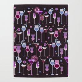 Retro Vintage Cocktail Pattern 1 Poster