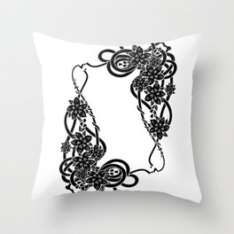 Abstract floral frame Throw Pillow