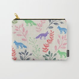 Watercolor Floral & Fox III Carry-All Pouch