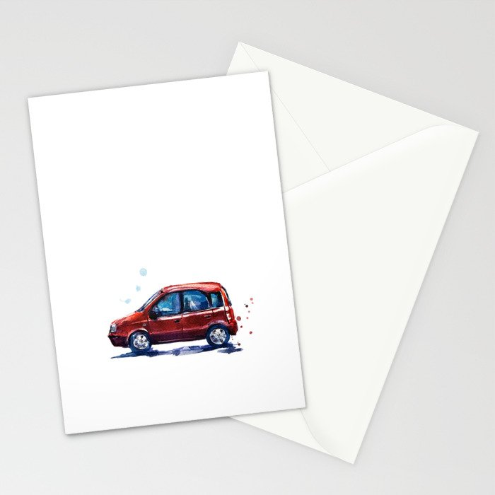 Sketch of a red car in watercolor Stationery Cards