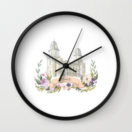 LDS Manti watercolor Temple with flower wreath  Wall Clock