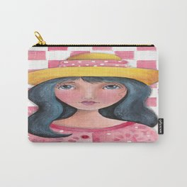 Whimiscal girl with Pink Checkers Carry-All Pouch