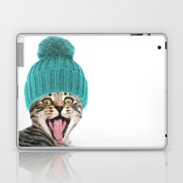 Cat with hat illustration Laptop & iPad Skin