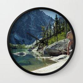 Emerald Green Alpine Lake Wall Clock