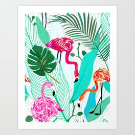 Tropical Flamingo Pattern Art Print