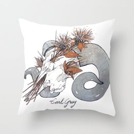 MorbidiTea - Earl Grey with Ram Skull Throw Pillow