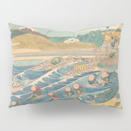 Fuji Seen from Kanaya on the Tōkaidō, Series Thirty-six Views of Mount Fuji by Katsushika Hokusai Pillow Sham