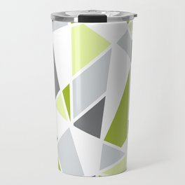 Geometric Pattern in Lime, Yellow, Gray Travel Mug