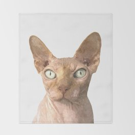 Sphynx cat portrait Throw Blanket