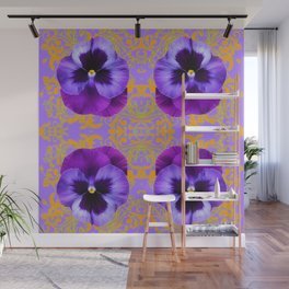 FOUR  PURPLE PANSIES ON LILAC  BROCADE GARDEN Wall Mural