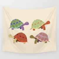 turtles Wall Tapestries featuring Turtles by TypicalArtGuy