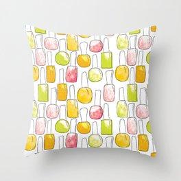 Nail Polish | Yellow Green Peach Pattern Throw Pillow