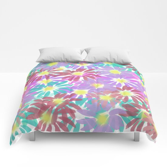 Painterly Floral Explosion Comforters