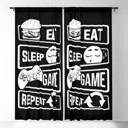 Eat Sleep Game Repeat | Video Game Console Gaming Blackout Curtain