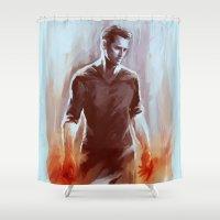 derek hale Shower Curtains featuring PETER HALE by AkiMao