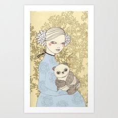 Girl with Panda Art Print