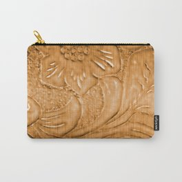Golden Tan Tooled Leather Carry-All Pouch