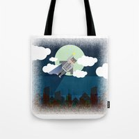 bat man Tote Bags featuring Bat Man by voskovski