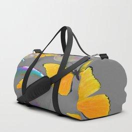YELLOW BUTTERFLIES  & SOAP BUBBLES GREY COLOR DESIGN ART Duffle Bag