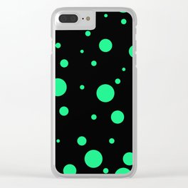 Green Bubbles On Black Clear iPhone Case